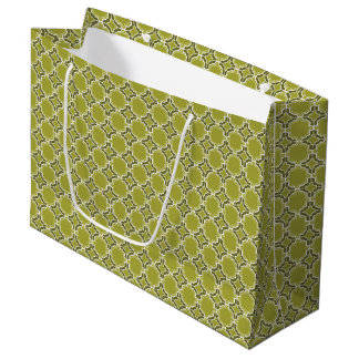 Lime Green Moroccan Lattice Pattern Large Gift Bag