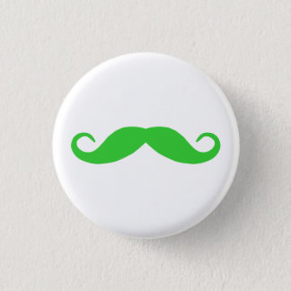 Lime Green Mustache 1 Inch Round Button