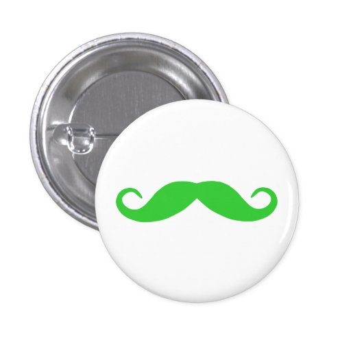 Lime Green Mustache Pinback Button