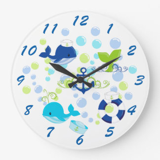 Lime Green Navy Blue Nautical Kids Large Clock