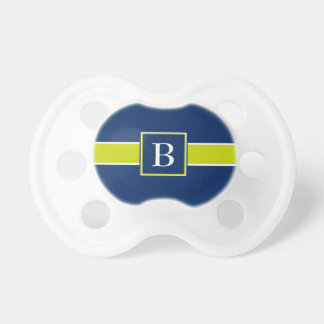 Lime Green on Navy Blue Stripe Monogram Pacifiers