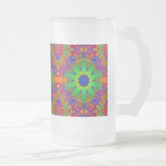 Lime Green Orange and Purple Stars Mandala Frosted Glass Beer Mug