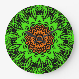 Lime Green Orange Black Lace Doily Mandala Snowfla Large Clock