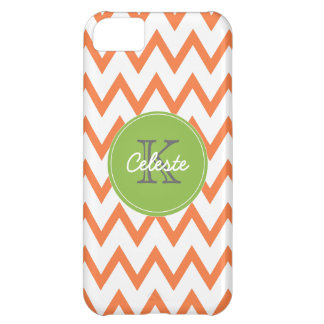 Lime Green, Orange Chevron monogram iPhone5 case