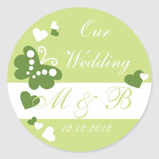 Lime Green Our Wedding Monogram Sticker