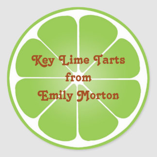 Lime green party favor label seal jar top round round sticker