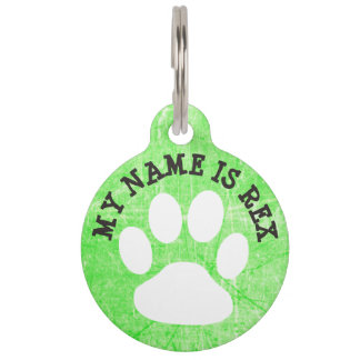 Lime Green Paw Print Dog Name Tag and Phone Number