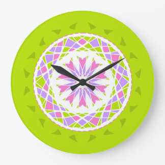 Lime green, pink and purple mandala style large clock