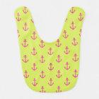 Lime Green Pink Nautical Anchor Pattern Bib