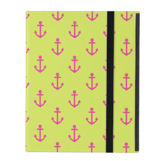 Lime Green Pink Nautical Anchor Pattern iPad Cover