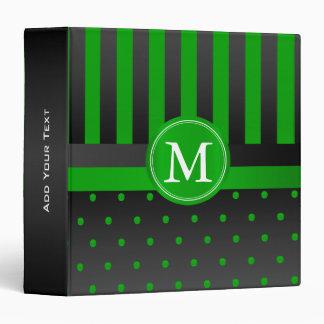 Lime Green Polka Dots and Black Stripes 3 Ring Binder
