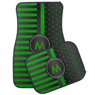 Lime Green Polka Dots and Black Stripes Car Mat