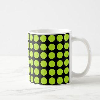 Lime Green Polka Dots Black Coffee Mug