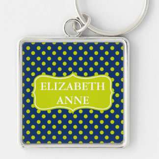 Lime Green Polka Dots on Navy Blue Personalized Keychain