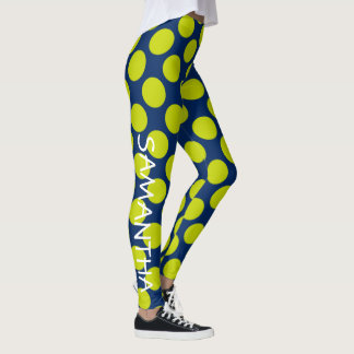 Lime Green Polka Dots on Navy Blue Personalized Leggings