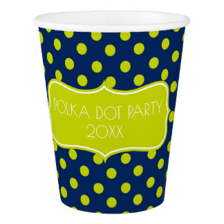 Lime Green Polka Dots on Navy Blue Personalized Paper Cup