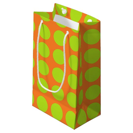 Lime Green Polka Dots Orange Small Gift Bag