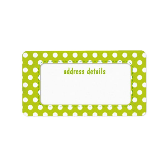 Lime green Polkadot Label