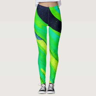 Lime Green Poured-Paint Abstract - Leggings
