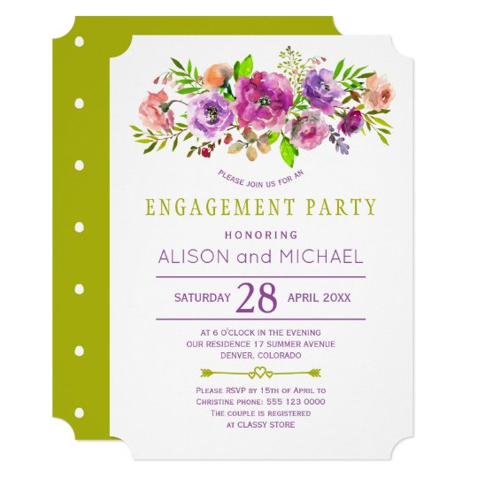 Lime green purple rustic floral engagement party card