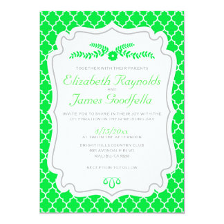 Lime Green Quatrefoil Wedding Invitations