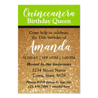 Lime Green Quinceañera Birthday Invitation Glitter
