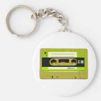 Lime Green Retro Cassette Tape Keychains