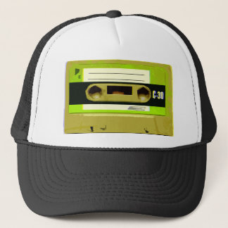 Lime Green Retro Cassette Tape Trucker Hat