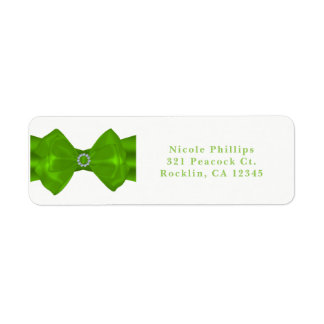 Lime Green Ribbon & Diamonds Chic Glam Invitation