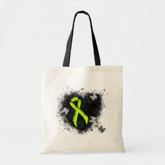Lime Green Ribbon Grunge Heart Tote Bag