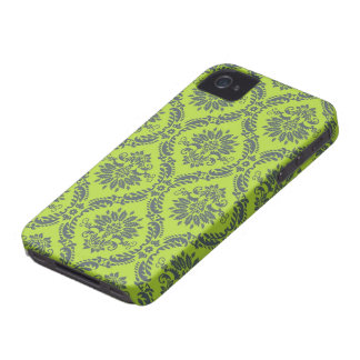 lime green royal damask pattern iPhone 4 Case-Mate cases
