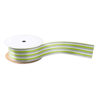 Lime Green, Silver and White Stripes Satin Ribbon