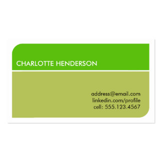 Lime green smart student employment resume card business card