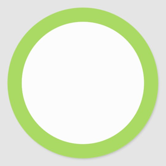 Lime green solid colour border blank classic round sticker