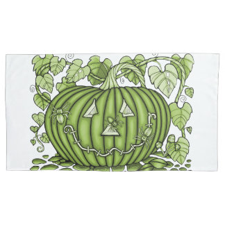 Lime-Green Spidery Pumpkin Pillowcase