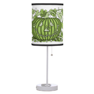 Lime-Green Spidery Pumpkin Table Lamp
