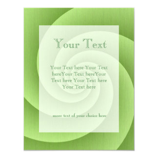 "Lime Green Spiral in brushed metal texture 4.25"" X 5.5"" Invitation Card"