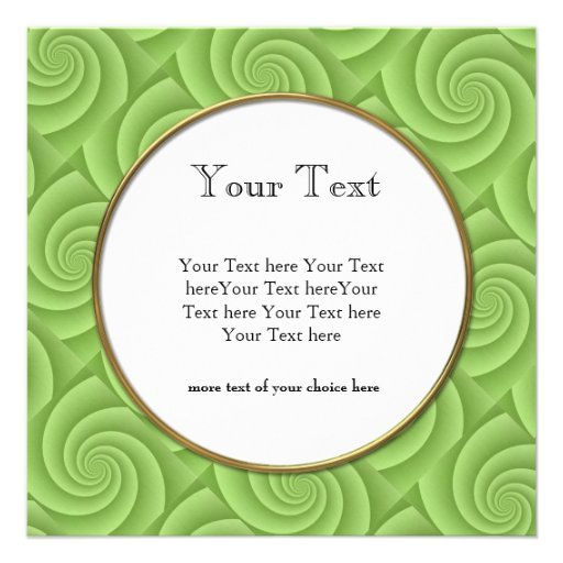 Lime Green Spiral in brushed metal texture Personalized Announcement