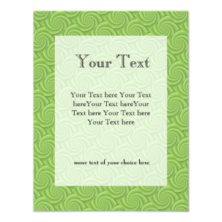 Lime Green Spiral in brushed metal texture Invite