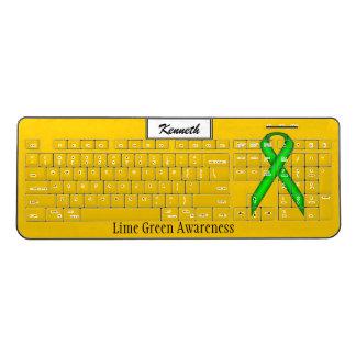 Lime Green Standard Ribbon by Kenneth Yoncich Wireless Keyboard