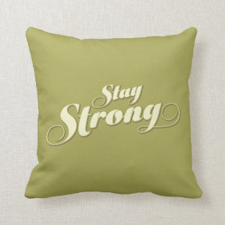 Lime Green Stay Strong Inspirational Throw Pillow
