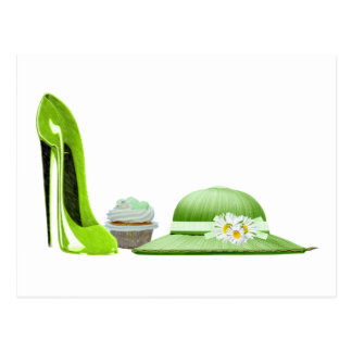 Lime Green Stiletto Shoe, Cupcake and Hat Art Postcard
