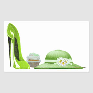 Lime Green Stiletto Shoe, Cupcake and Hat Art Sticker