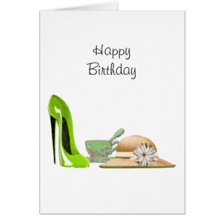 Lime Green Stiletto Shoe, Hat and Teacup Art Card