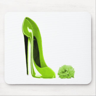 Lime Green Stiletto Shoe Mouse Pad