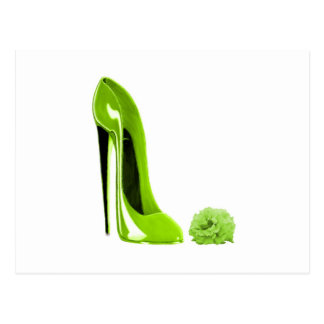 Lime Green Stiletto Shoe Postcard