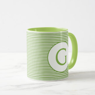 Lime Green Stripe Monogram Mug