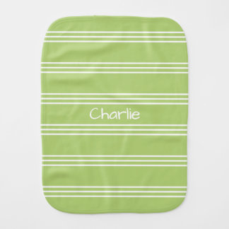 Lime Green Stripes custom monogram burp cloth