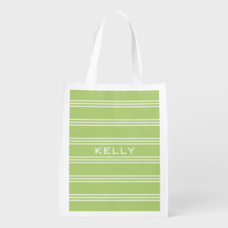Lime Green Stripes custom monogram reusable bag Grocery Bag