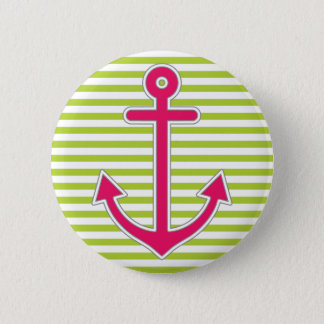 Lime Green Stripes Hot Pink Anchor Nautical 2 Inch Round Button